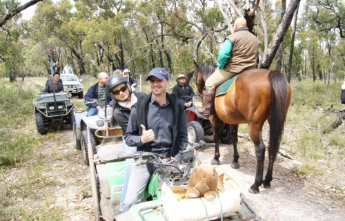 Quad bikes and a man on a horse, Coonawarra