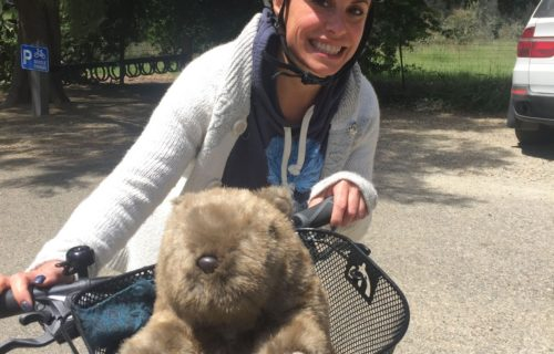 Kat on a bike (with wombat)