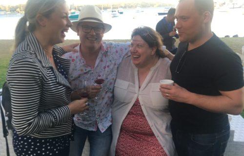 Group hugs, last night in Perth
